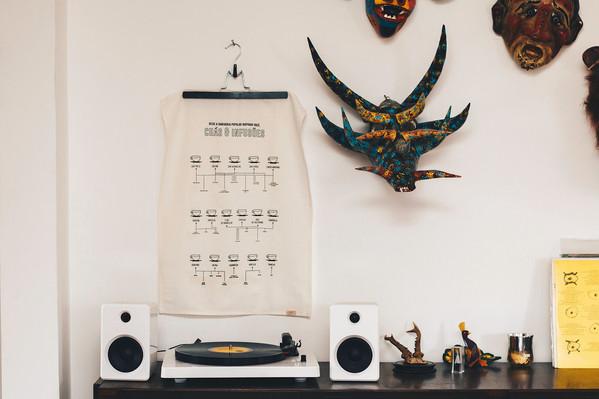 decoração poster bandeira som sala design de interiores linho artesanal wall parede