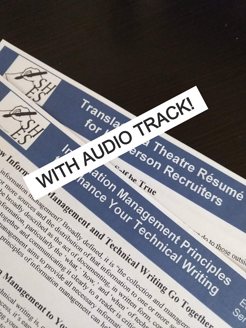 Translating a Theatre Résumé for Layperson Recruiters WITH AUDIO TRACK