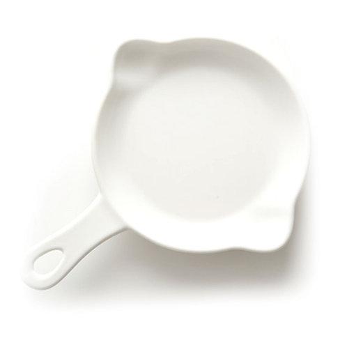 瑞典【GREEGREEN】雙嘴單柄圓形陶瓷烤盤 5吋(白色) 盤子 點心盤 餐盤