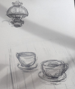 perspective study mugs with lamp