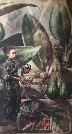 Mädchen mit Papagei
