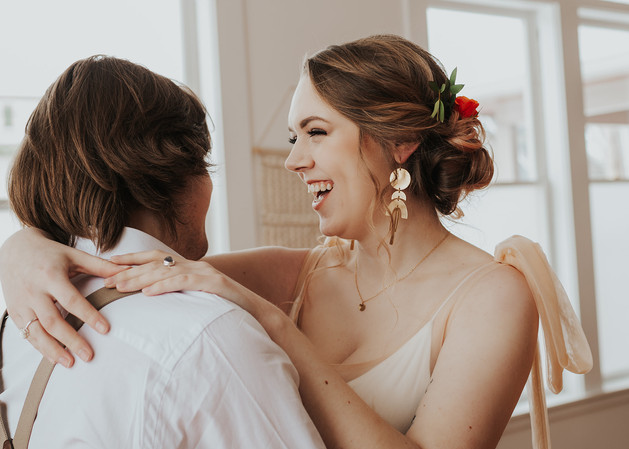Photo: Zoe Deal | Makeup: Natasha Gendron | Hair: Areca Hollinsworth | Models: Angie Burger and Ryan Belik | Dress: Raw + Golden Rentals | Earrings: Allison Potts | Rings: Ashley Lynn Jewlry | Wedding Coordinator: Prudence + Sage