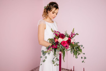 Photo: Tessa Viamonte Photography   Makeup: Natasha Gendron   Hair: Areca Hollinsworth   Model: Mandee Rae   Dress: French Knot Couture   Floral: Wandering Blooms