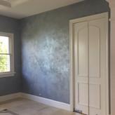 Dining Room custom blue tri-color walls.