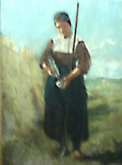 Boerenvrouw die water schenkt