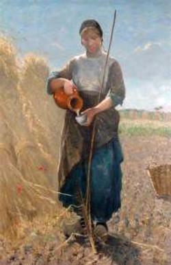 Jonge vrouw, water schenkend op het