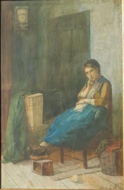 Breiende jonge boerin in interieur