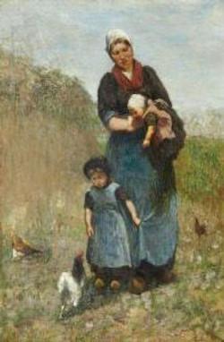 Boerenvrouw met haar kinderen