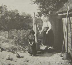 Vrouw met kind op binnenplaats
