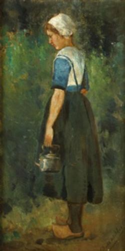 Meisje dat een ketel draagt