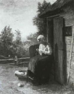 Jonge naaiende vrouw