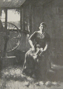 Boerenvrouw die wol snijdt