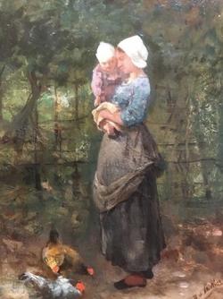 Boerin met kind bij kippen