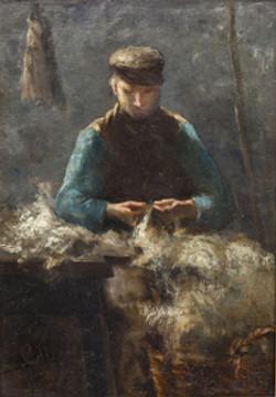 Man met wol aan het werk