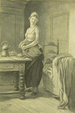 Vrouw met wieg