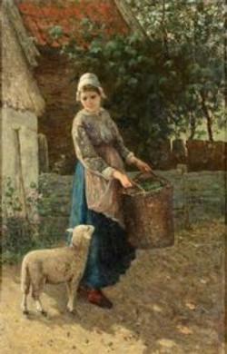 Vrouw met lammetje
