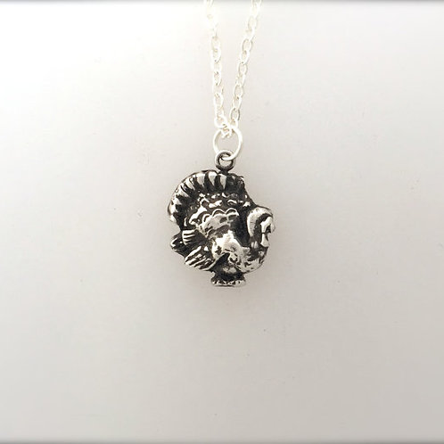 Happy Turkey Metal Clay Necklace