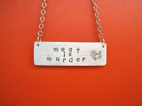 Meat is Murder Cow Rectangle Tag Necklace
