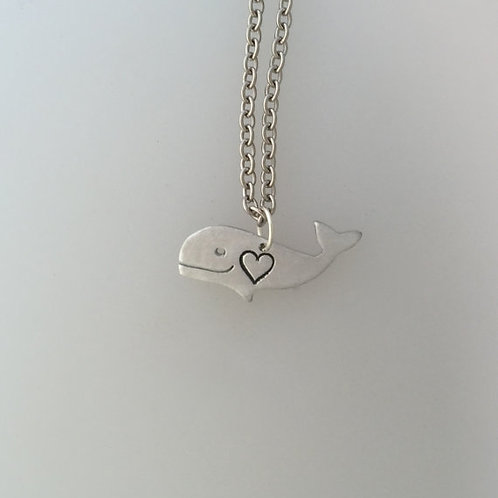 Mini Whale w/Heart Necklace
