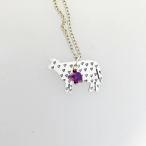 Amethyst Compassionate Cow Necklace