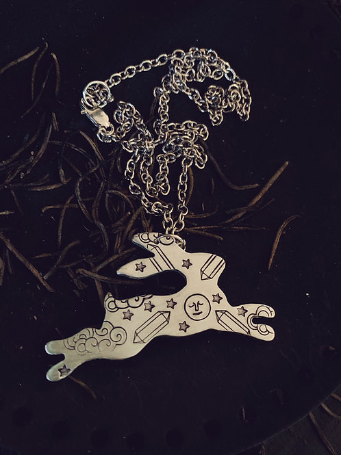 Crystal Moon Rabbit Necklace
