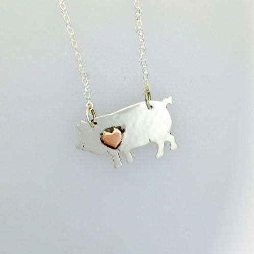 Pig w/ copper Heart Necklace in recycled sterling silver
