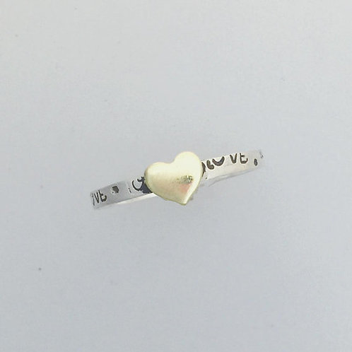 Dainty Love Heart Stackable Ring in recycled sterling