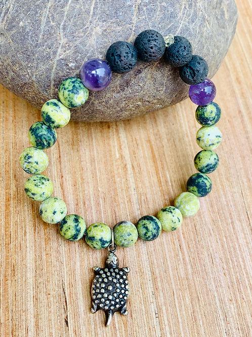 Aromatherapy Yellow Turquoise, Amethyst Turtle Charm Bracelet
