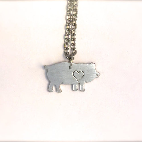 Mini Pig w/ heart Necklace