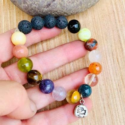 Aromatherapy Multi Gemstone Elephant Charm Bracelet