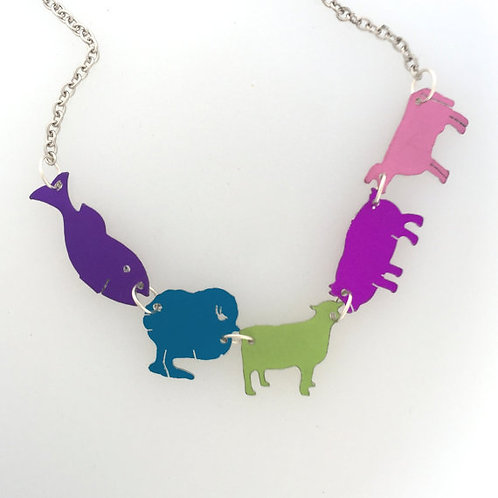 Happy Vegan Pastel Colors Farm Animal Necklace