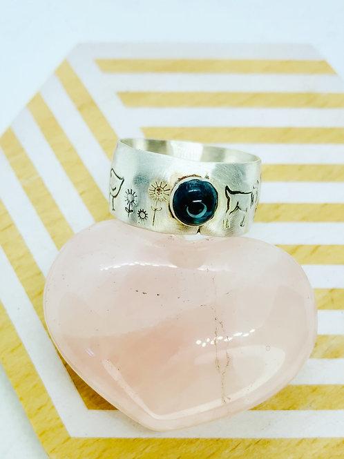 Farm Animal Ring with Spectrolite Gemstone