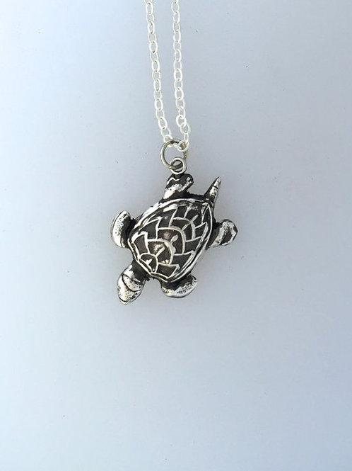 Happy Sea Turtle Metal Clay Necklace