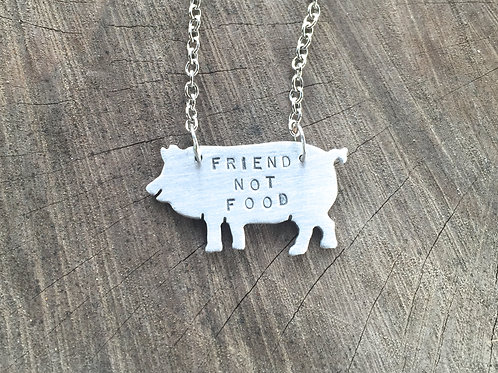 Friend Not Food Pig necklace