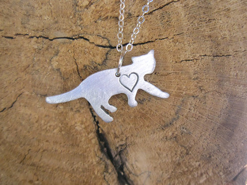Mini Cat with Heart Necklace