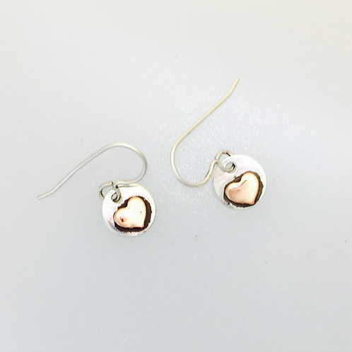 Tiny Copper Heart with Sterling earrings