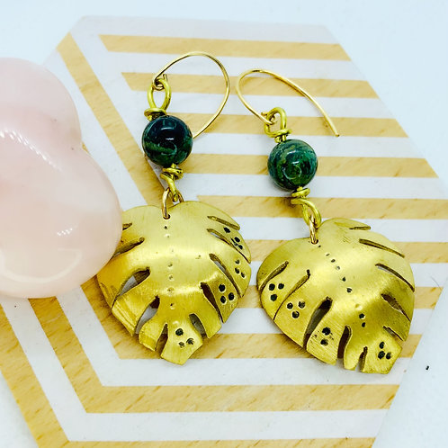 Brass Monstera Leaf with Kambaba Jasper Earrings