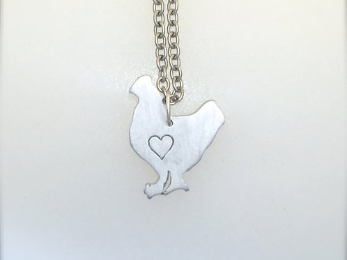 Mini Chicken w/ heart necklace