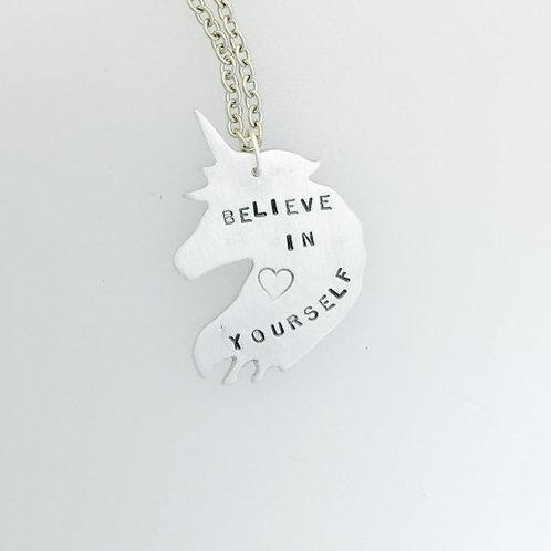 Believe in Yourself Unicorn Necklace