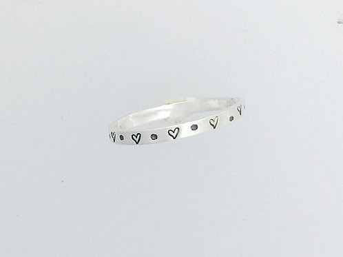 Dainty Heart & Dot Stackable Ring in recycled sterling silver