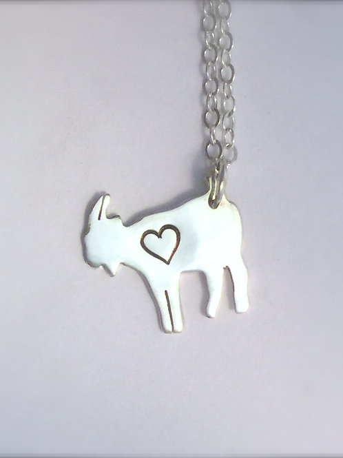 Mini Goat with Heart Necklace in Recycled sterling silver