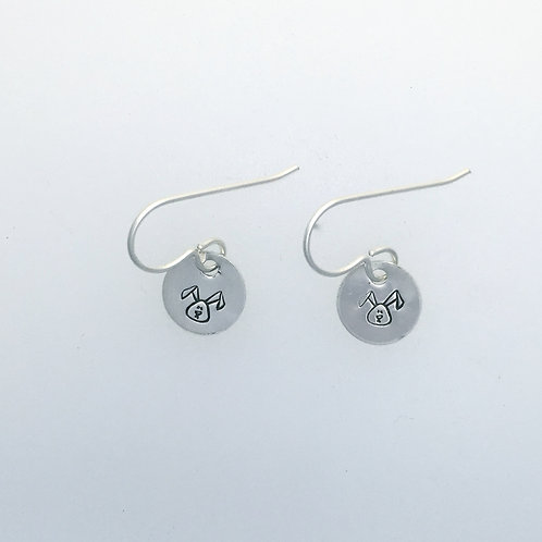 Tiny Circle Earrings w/custom stamp in recycled sterling silver