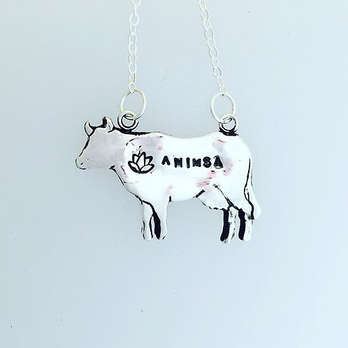 Ahimsa with Lotus Cow Necklace