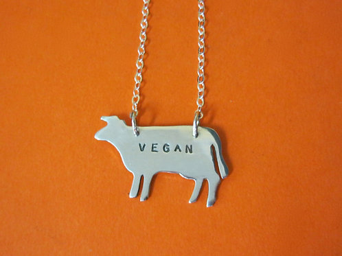 Vegan Cow Necklace in Recycled Sterling Silver