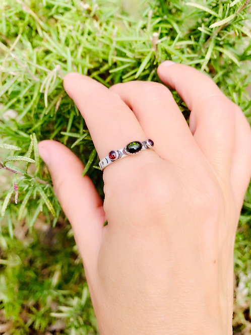 Green Tourmaline and Garnet Ring