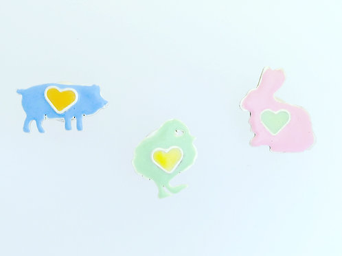 Farm Animal Lapel Pins set of 3