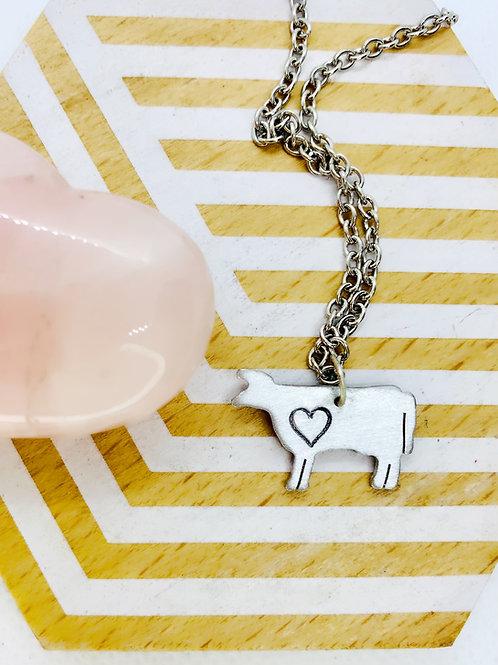 Mini Cow w/ Heart Necklace