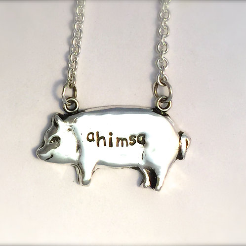 Happy Ahimsa Pig Necklace in Sterling Silver Metal Clay
