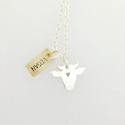 Vegan Mini Cow Head Necklace