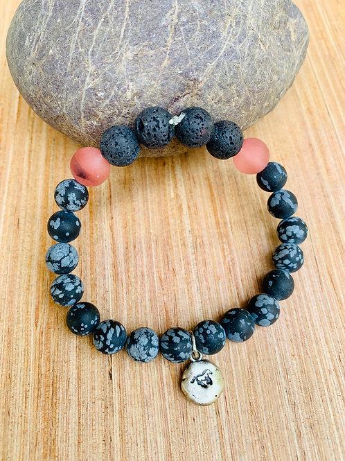 Aromatherapy Black Obsidian Cherry Quartz Horse Charm Bracelet